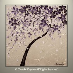 """Original Modern Art Painting on Gallery wrapped Canvas 20"""" x 20"""", Home Decor, Wall Art --Purple & White Blossoms--"""
