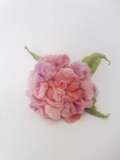Felted Flower Brooch Watercolor Rose by Valyashki on Etsy