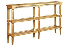 """Casey Console, 60""""W x 12""""D x 36""""H, $499, skinny w/lots of shelving"""