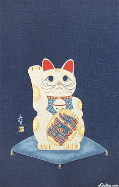 Good Luck Cat - Noren Panel - Indigo/Gold