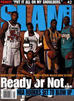 Serious Slam Magazine Cover. Marcus Camby, Stephon Marbury, Kobe, Shareef and Jesus Shuttlesworth aka Ray Allen