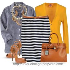navy/white striped skirt, chambray long sleeved shirt, mustard cardigan, camel belt/tote/heel, no jewlry Mode Outfits, Casual Outfits, Mode Style, Style Me, Stripe Skirt, Striped Pants, Work Attire, Office Attire, Work Fashion