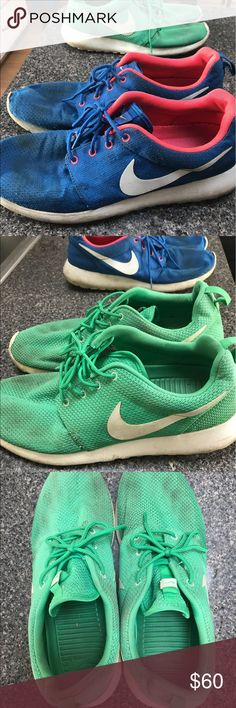 Two pairs of Nike Roshes; worn both size 11,  a little ditty on soles..:sea foam green/white & blue/coral... selling both in a bundle for $80... buying separately $45. Nike Shoes Sneakers