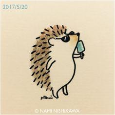 今日は夏みたいに暑いね It's hot today like summer. Cute Easy Drawings, Mini Drawings, Cute Animal Drawings, Doodle Drawings, Doodle Art, Drawing Sketches, Hedgehog Drawing, Hedgehog Art, Cute Hedgehog