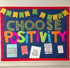 Choose Positivity bulletin board from Science Teaching Junkie Check out some of our favorite photos from the hashtag in this months Counseling Bulletin Boards, Summer Bulletin Boards, Classroom Bulletin Boards, School Classroom, Classroom Decor, Health Bulletin Boards, Holiday Classrooms, Counseling Office, Preschool Bulletin