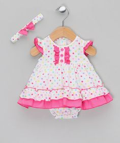 Take a look at this Small Spots Dark Pink Dress & Bloomers by Rock a Bye Baby on #zulily today!