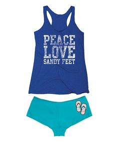 Look at this Royal Blue & Turquoise 'Peace Love Sandy Feet' Tank & Hipster on #zulily today!