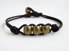 Men's bracelet - Mens leather bracelet - Brass tone pewter beads on leather - Gift for him - Bohemian boho (Ready to ship). $32.00, via Etsy.