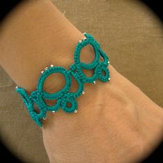 Tatted Lace Bracelet with beads - Holding Hands - Turquoise. $20.00, via Etsy.