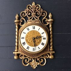 Vintage Syroco, Gold, Ornate Wall Clock, Hollywood Regency Decor, Mid Century Decor, Glam by YellowHouseDecor on Etsy https://www.etsy.com/listing/261676772/vintage-syroco-gold-ornate-wall-clock