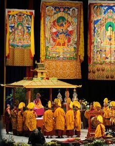Dalai Lama sitting on the Kalachakra mandala pavillion