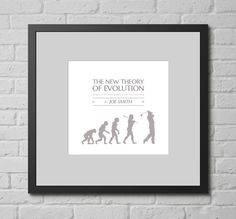 Personalised Print - The Golfers 'New' Theory of Evolution. This personalised typographic art print is a lovely gift for any golf fan (especially if they are completely consumed by the game of golf, to the point that they consider it as important as life itself).