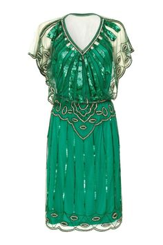 Emerald Green Vintage inspired Flapper Great Gatsby Beaded Charleston Sequin Deco Downton Abbey Mod Dress New Hand Made Vintage Outfits, Vintage Inspired Dresses, Vintage Dresses, Dresses Art, Vintage Clothing, Vintage Prom, Women's Clothing, London Outfit, 1920s Fashion Dresses