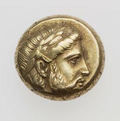 1/6 stater - electrum -Mytilene, Lesbos (400-350 a.C.) Asklepios laureato…
