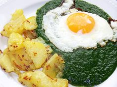spinat+spiegelei+kartoffeln(+leberkäse/knacker)