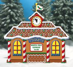 All Christmas - Gingerbread Train Station Woodcrafting Pattern Christmas Yard Art, Christmas Yard Decorations, Christmas Wood Crafts, Christmas Train, Holiday Crafts, Christmas Ornaments, Cubicle Decorations, Outdoor Decorations, Christmas Scenes