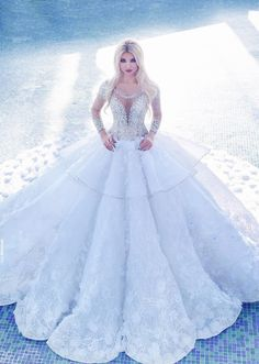 Sheer Long Sleeve Wedding Dresses Scoop Neck Sequins Beaded Lace Appliques Princess Bridal Dresses Custom Made Gorgeous Sexy Wedding Gowns Cheap Bridal Dresses, Disney Wedding Dresses, Wedding Dress Train, 2016 Wedding Dresses, Gorgeous Wedding Dress, Beautiful Gowns, Bridal Gowns, Wedding Gowns, 2017 Wedding