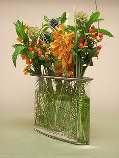 Early Fall Arrangement In Glass Vase With Removable Top