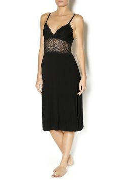 An elegant, below-the-knee length soft and lacy chemise with adjustable straps. The bodice is lace with lined cups and the skirt is a soft modal knit.   Phoebe Chemise by Ophelia King. Clothing - Lingerie & Sleepwear Oregon