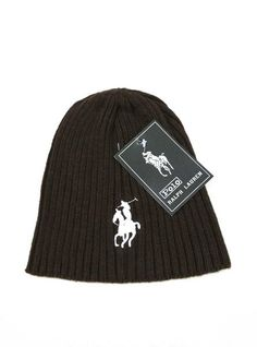 Men's / Women's Polo Ralph Lauren Big Pony 3D Embroidered Logo Skull Knit Beanie Hat - Brown / White