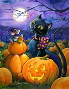 Pumpkin Patch Pals, halloween, black cat, illustration, pumpkin, candy