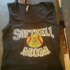 Softball bedazzled tank Black tank bedazzled . Size tag says large, but it's like a small. Has some stretch. Great for the softball field! Tops Tank Tops
