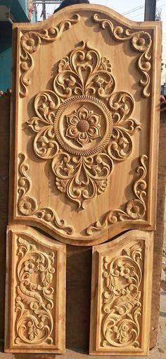 Single Door Design, Wooden Main Door Design, Door Panels, Wood Carving Art, Single Doors, Bed Design, Woodworking, Home Decor, Wood Molding