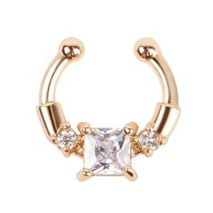 1Pc Golden Fake Septum Clicker Nose Ring Non Piercing Clip On Clear CZ