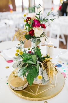 colorful + fun centerpiece, photo by Rachel Whyte http://ruffledblog.com/texas-gemstone-wedding #centerpieces #weddingideas #reception