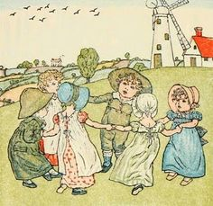 """""""Ring Around the Rosie"""" -- child's chant believed to be early rhyme about the """"Black Death"""" (pocket full of posie referred to herbs or bouquets carried to deter spread of plague; a tishoo referred to sneeze -- a plague symptom; and we all fall down -- obviously a reference to death)"""