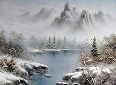 Lake and Mountains in Fog Style of Bob Ross art for sale at Toperfect gallery. Buy the Lake and Mountains in Fog Style of Bob Ross oil painting in Factory Price. Landscape Art, Landscape Paintings, Oil Painting Pictures, Pictures To Paint, Painting Tips, Bob Ross Art, Bob Ross Paintings, The Joy Of Painting, Winter
