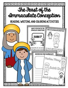 The Feast Day of the Immaculate Conception Celebrate the feast day of The Immaculate Conception with these activities. Students will read, write and color. Advent Activities, Color Activities, Kindergarten Activities, Feast Of Immaculate Conception, Catholic Feast Days, Religious Education, Sunday School Crafts, Holiday Themes, Cover Pages