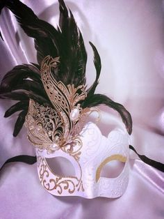 Masquerade Feather Ball Venetian Mask Metal Laser Cut Black/Gold and White/Gold
