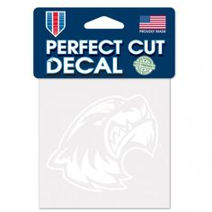 """UTAH VALLEY UNIVERSITY PERFECT CUT WHITE DECAL 4"""" X 4"""" WinCraft Item #07391117 Officially licensed decal. These white logo decals are thermal cut to the edge of logo and look great on car windows, with their self-adhesive back. Size 4x4. Made in USA."""