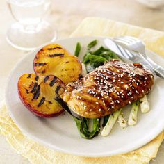Hoisin-Glazed Chicken with Plums and Green Onions