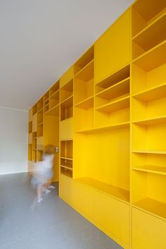 yellow shelving