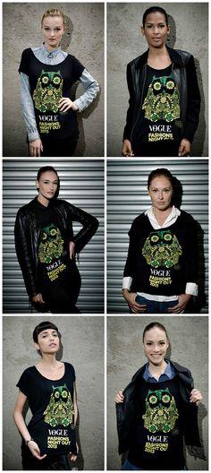 Vogue Fashion's Night Out – Blusas com estampas da mascote Owlie, a coruja do FNO Brasil http://www.acordabonita.com/2013/09/o-que-e-o-fno-a-historia-ao-redor-do-vogue-fashions-night-out/
