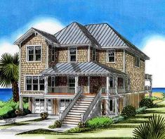 Beach house plans on pinterest house plans beach houses for Low country beach house plans