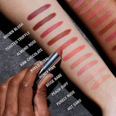 Maybelline Color Sensational Creamy Matte Nudes Lipcolor: in raw chocolate and toasted truffle Maybelline Lipstick, Lipstick Swatches, Nude Lipstick, Makeup Swatches, Lipstick Shades, Lipstick Colors, Lip Colors, Lipsticks, Beauty Tips