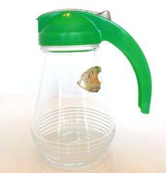 Vintage Glass Syrup Dispenser Green by vintagebytheseashore, $10.00