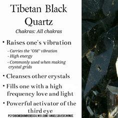 Tibetan Black Quartz crystal meaning. Gems And Minerals, Crystals Minerals, Crystals And Gemstones, Stones And Crystals, Healing Gemstones, Gem Stones, Types Of Crystals, Black Crystals, Crystal Healing Stones