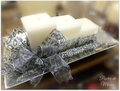 Navidad #Navidad #Pewter #velas #moño #plateado #plata #christmas #candles #silver