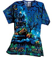 spooksville sues signature placement print halloween scrubs