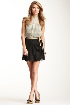 Hope Pleated Mini Skirt and Chiffon Speckled Print Blouse by Corey Lynn Calter on