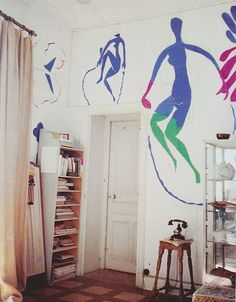 Original cut-out of Femme bleue et verte / Blue nude with green stockings in Matisse studio, Hotel Regina, Nice, September 1952. Gouache on paper, cut and pasted pinned to wall.