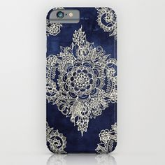 Cream Floral Moroccan Pattern on Deep Indigo Ink iPhone & iPod Case