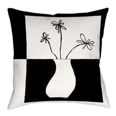Minimalist Flower in Vase Indoor/Outdoor Throw Pillow