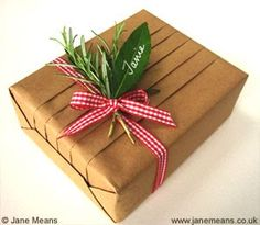 pleated Brown Paper Wrap.  note leaf gift tag.
