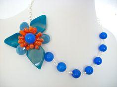 Blue gemstone flower necklace asymmetrical wire by StarJewels, $98.00