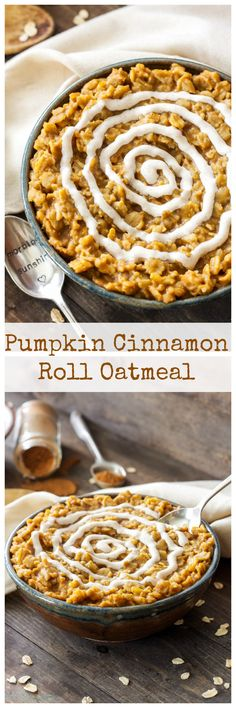Pumpkin Cinnamon Roll Oatmeal - and cinnamon roll flavors come together in one harmonious and comforting bowl of oatmeal! Top it with the cream cheese frosting for a sweet, but not over the top fall Cinnamon Roll Oatmeal Recipe, Oatmeal Recipes, Pumpkin Recipes, Cinnamon Rolls, Fall Recipes, Holiday Recipes, Baked Oatmeal, Holiday Treats, Healthy Breakfast Recipes